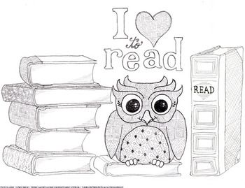 I Love To Read Owl And Books Coloring Page And Bookmarks