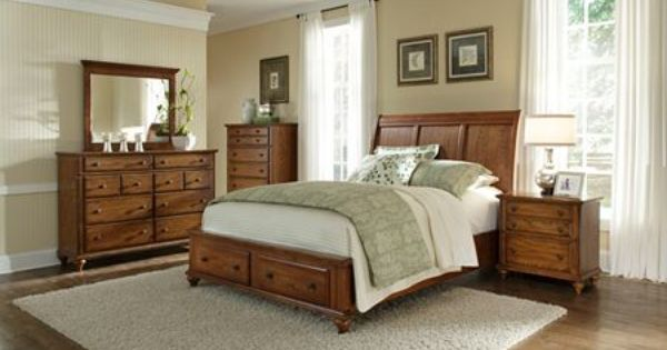Oak storage sleigh bed by broyhill hayden place style i - Broyhill hayden place bedroom set ...