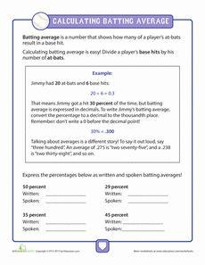 Calculating Batting Average In Baseball Worksheet Education Com Batting Average Math Number Sense Opening Day Baseball