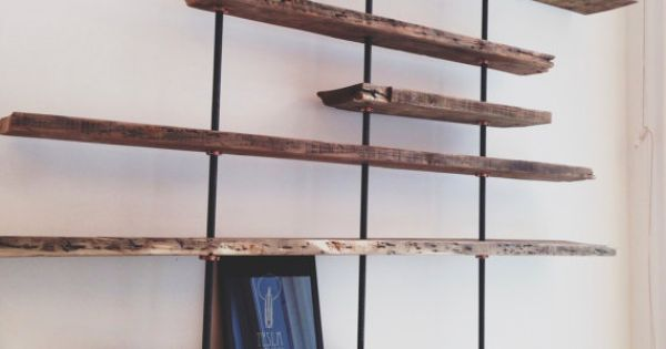 Modern Reclaimed Wood Shelving Unit Using Aged Salvaged