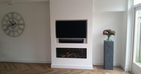 De inbouw gashaard wanders danta 1100 met boven de haard een nis voor de tv van fabrikant - Haard thuis wereld ...