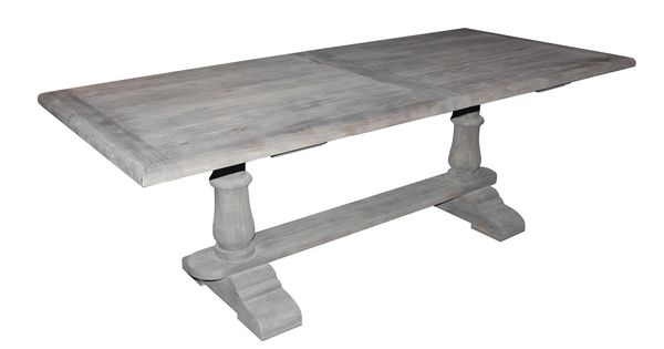 Solid wood dining table with gray washed out finish ...