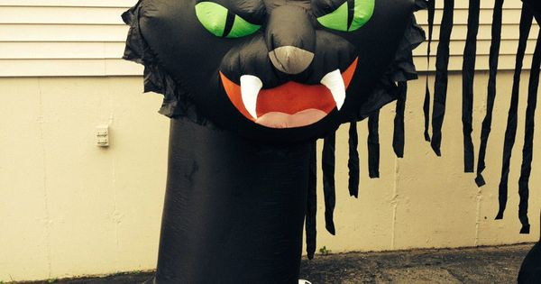 10 39 tall gemmy halloween scary black cat archway airblown for Motor for inflatable decoration