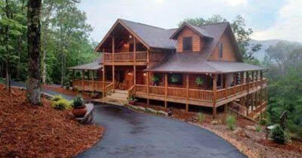 Holy Wrap Around Porches Log Homes My Dream Home Log Cabin Homes