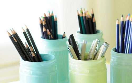 Painted glass jars DIY Pencil holders