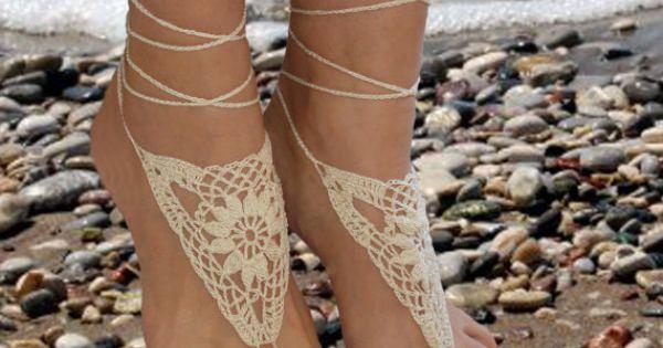 Jeweled sandals - Crochet Barefoot Sandals, Ivory Barefoot sandles.