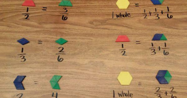 math worksheet : using pattern blocks to teach fractions equivalent fractions and  : Pattern Block Fractions Worksheet