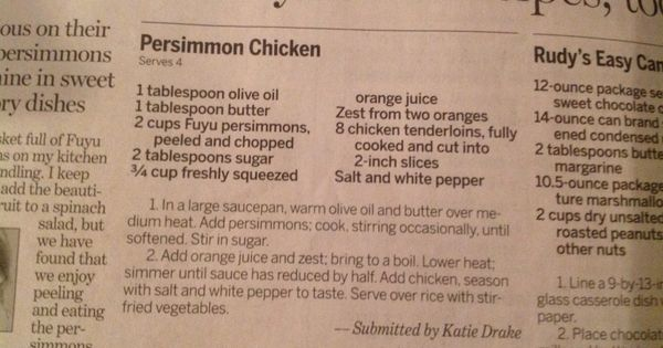 Persimmon chicken -could be done with chik'n | Nom | Pinterest ...
