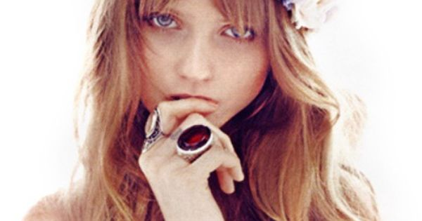 Abbey Lee. Wavy hair, bangs, and floral crown