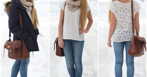 white tee with lace back, jeans, converse, brown bag, cream scarf