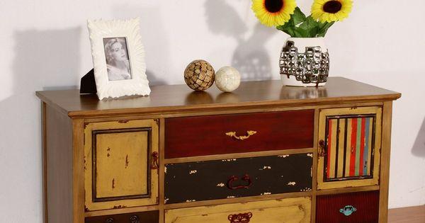 Mueble t v vintage patchwork 5 cajonesy 2 puertas deco - Muebles vintage malaga ...