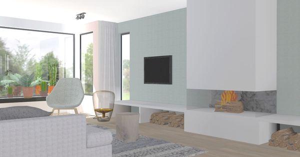 Scandinavisch interieur met groene muur en open haard ontwerp stoel - Open haard ontwerp gas ...