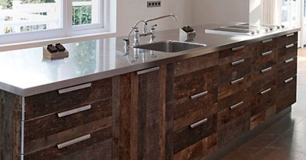 Reclaimed Wood Kitchen Cabinets In Rustic Theme