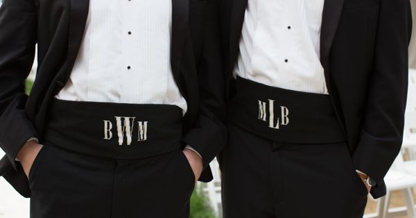 Wedding tie - monogrammed cummerbunds | Kate Belle #wedding