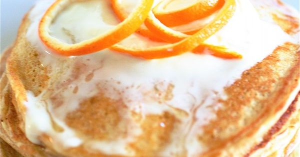 Orange Cloud Pancakes by the curvy carrot: Made with cottage cheese, eggs,