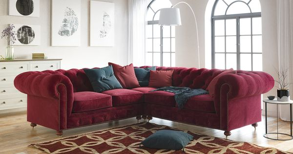 Notting Hill Velvet Chesterfield L Shaped Sectional Corner Sofa Corner Sofa Design Modular Corner Sofa Corner Sofa