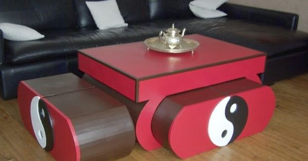 Sabine cr a carton table de salon ying yang meuble en for Meuble ying yang