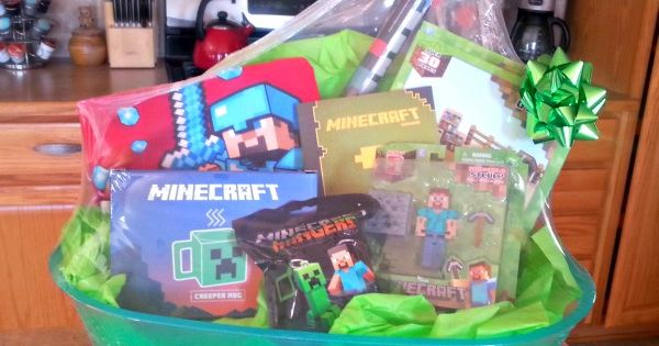 awesome minecraft basket for school fundraiser auction school auction basket ideas. Black Bedroom Furniture Sets. Home Design Ideas