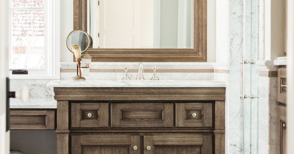 Elegant Custom Bath Vanity With Dark Wood Grain Marble Countertop And Floor