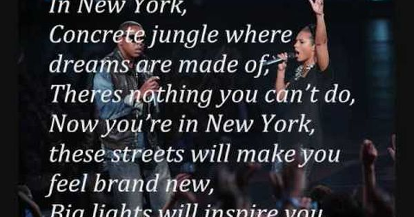 Empire State Of Mind Jay Z Ft Alicia Keys W Lyrics With Images