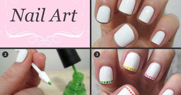 Nail art tutorial: Neon polka dot French - http://yournailart.com/nail-art-tutorial-neon-polka-dot-french/ - nails nail_art