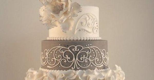 """Elegance"" ~ Wedding Cake ~ Ruffles, crystals, piping and color ""tipped"" Sugar"