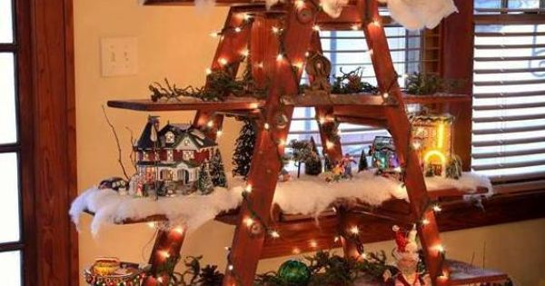 Christmas village ladder. Now I just need to find the ladder. | Santa Season | Pinterest ...