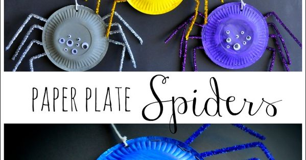 Paper Plate Spider Craft from I Heart Crafty Things. Simple and fun kids craft for Halloween.