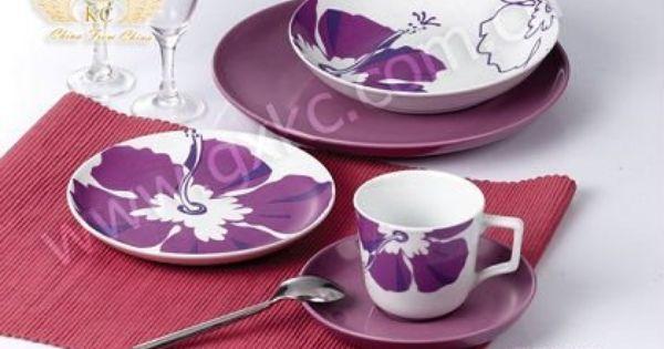 Purple Dinnerware Colorful Coupe Shape Fine Ceramic Porcelain Dinner Sets With Flower Aparelho De Jantar Azul Aparelhos De Jantar Jantar