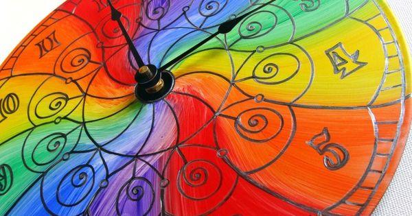 Color Wheel Mandala Record Clock Trippy Psychedelic