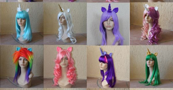 Princess Celestia costume cosplay wig blue purple pink wig my little pony
