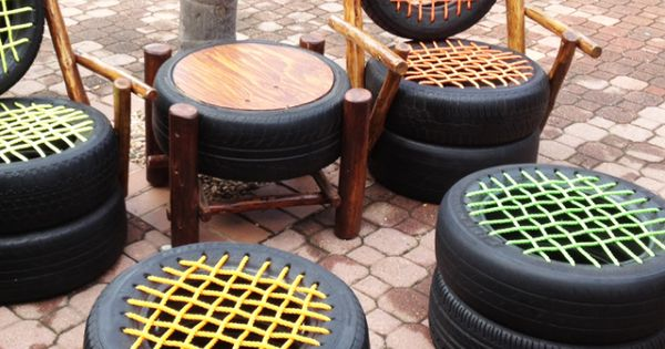 tire-chairs. Okay these are not pretty but if wrapped in rope they