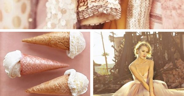 Moss, Blush, Rose, Gold, Toast wedding color inspiration board - perfect color