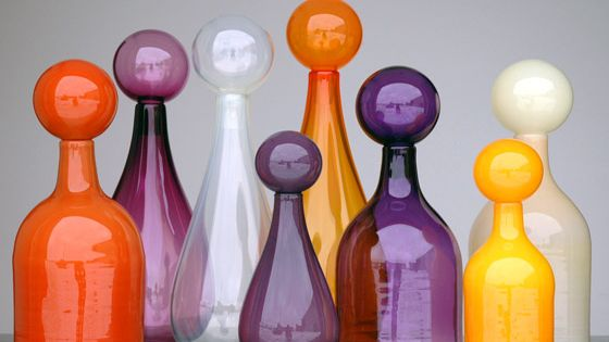 Coloured glass bottles