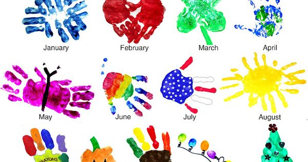 kid crafts using their hand prints etc.