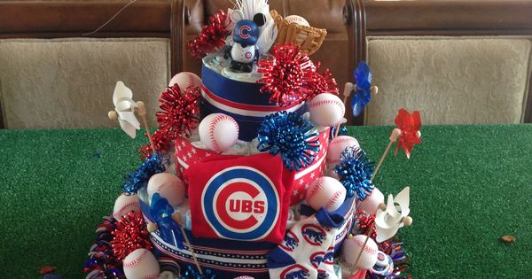 Cubs theme diaper cake for a baby shower. | Crafts ...