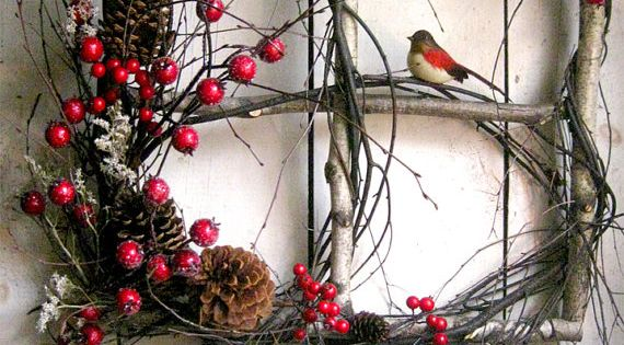 square wreath - bare twigs with berries, pinecones, a bird - good