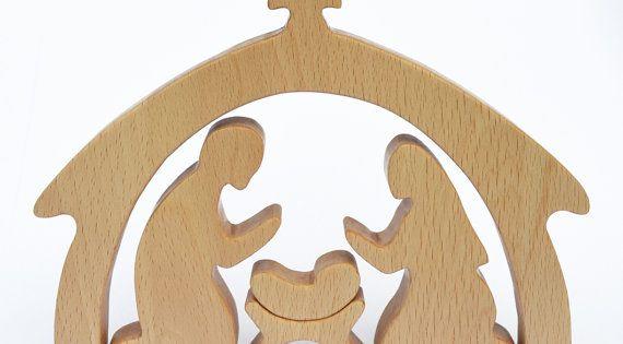 5 pi ce cr che en bois nativit cadeau de no l - Modele de creche de noel en bois ...