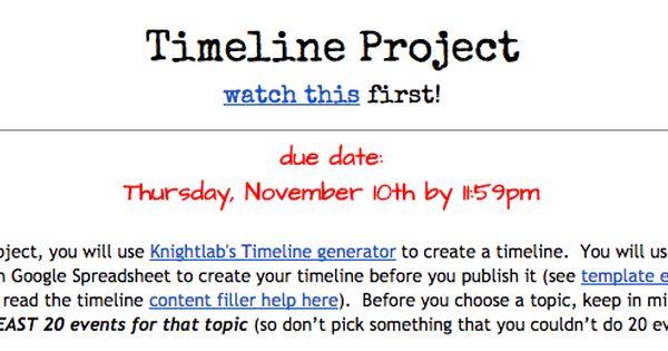 timeline project create a generator
