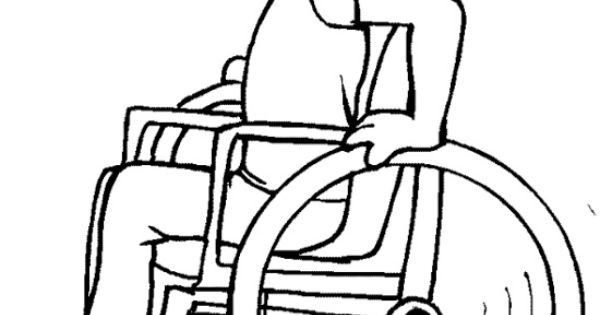 Disabled Children Coloring Page Special needs