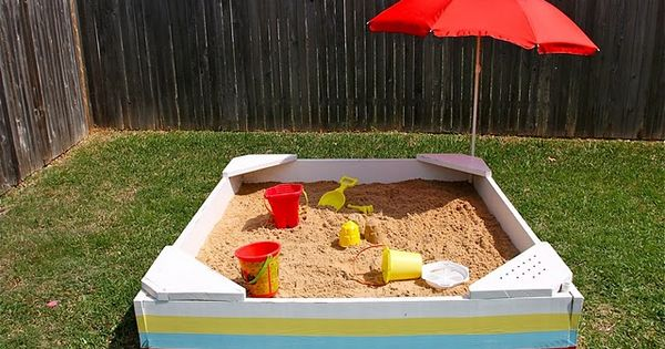 I love the one with the canopy! 5 DIY Sandbox Ideas
