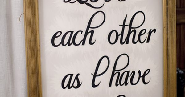 Wedding decorations - love quotes from the Bible, scattered around the reception
