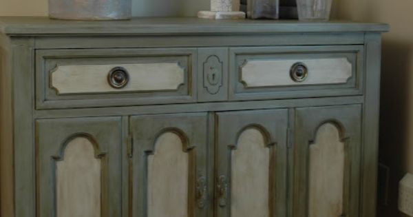 "Two-toned painted dresser / buffet. Painted by ""eleven-o-one"" with Annie Sloan chalk"