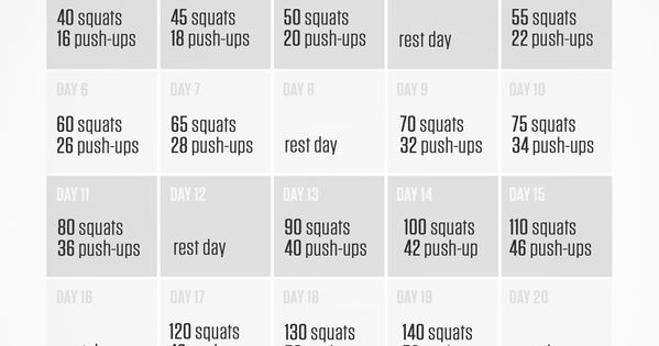 3000 Squats And 1000 Push Ups 30 Day Challenge Health