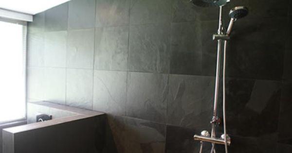 Badkamer met black slade mustang leisteen tegels tegelwerken projecten pinterest - Lay outs badkamer ...