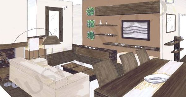 Croquis salon salle manger planche deco salon salle for Salle a manger zen