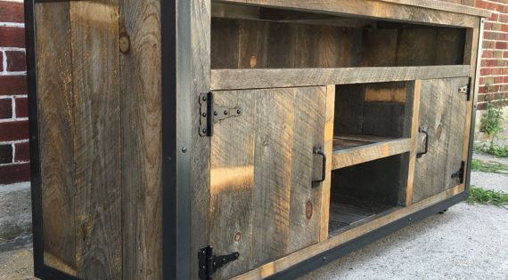 rustic industrial weathered barn board entertainment center tv stand reclaimed wood 62 natural. Black Bedroom Furniture Sets. Home Design Ideas