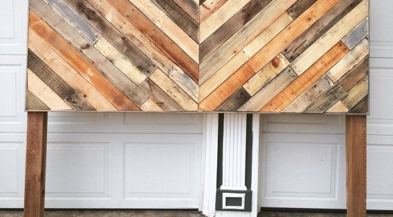 Rustic reclaimed pallet wood chevron headboard local for Local reclaimed wood