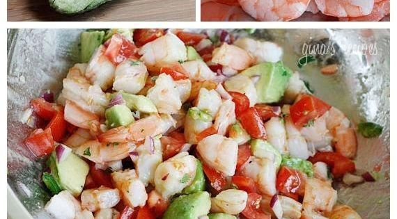 Zesty Lime Shrimp and Avocado Salad Protein=25.1 gms Carbs=7.8 gms Like for