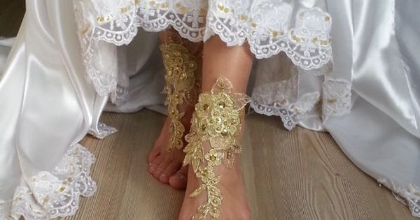 Free Ship  bridal anklet  gold embrodeired Beach by BarefootShop | See more about Anklet, Ships and Barefoot.